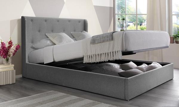 lit coffre curve tissu avec matelas en option livraison offerte