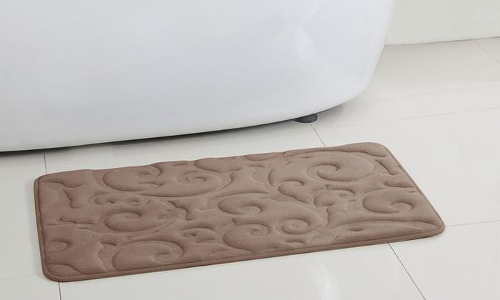"closeout: oversized 20""x32"" fleece memory-foam bath rug   groupon"