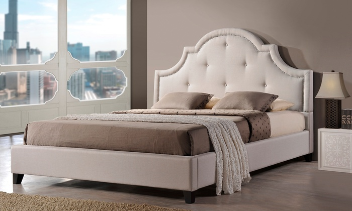 Upholstered Bed  Arch Headboard  Groupon Goods