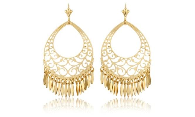 Sevil 18k Gold Plated Filigree Fringe Chandelier Earrings