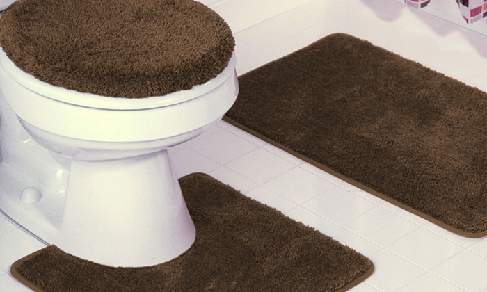 3-piece plush bath rug set | groupon goods