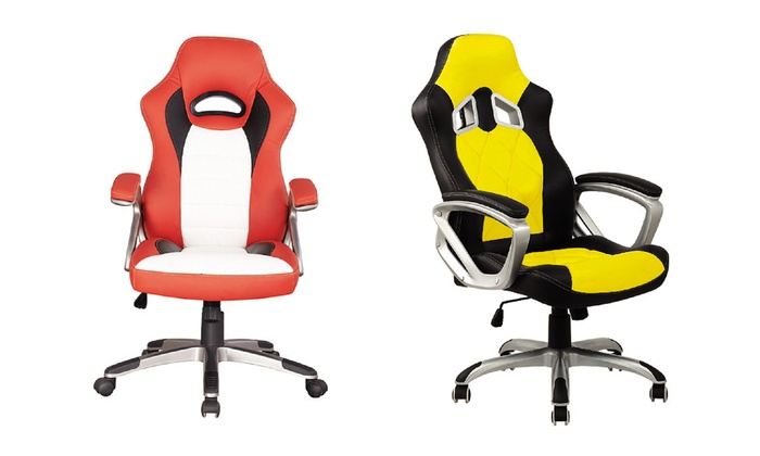 desk chair groupon big overstuffed with ottoman racecar style office goods