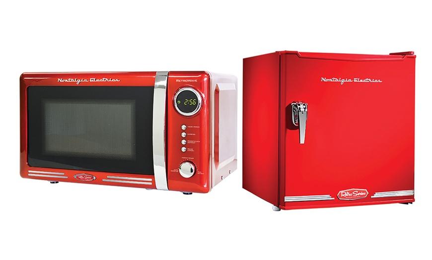 nostalgia electrics retro series 1 7 cu ft mini fridge 0 7 cu ft microwave oven or both from 79 99 179 99