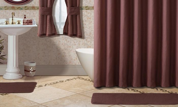 Bath Set and Window Curtains  Groupon Goods