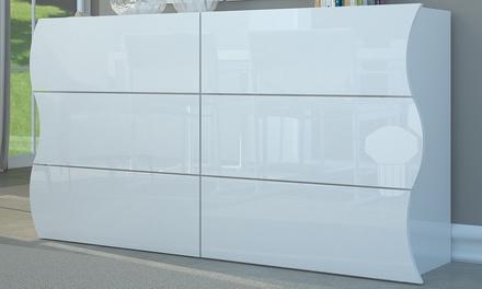 commode double a 6 tiroirs style contemporain en blanc laque brillant