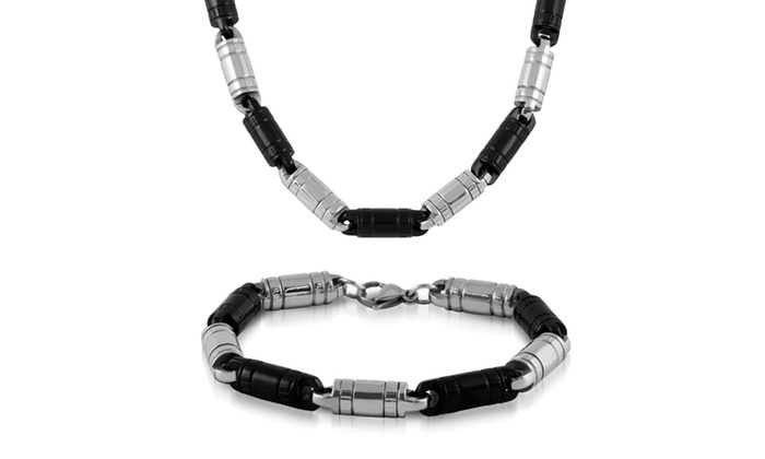 Men's Big Link Necklace and Bracelet Set by Elite Force