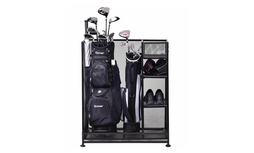 golf organizer storage rack dual fit 1 2 golf bags clubs accessories new