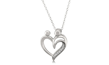 Sterling Silver Diamond Accent Mother and Baby Heart