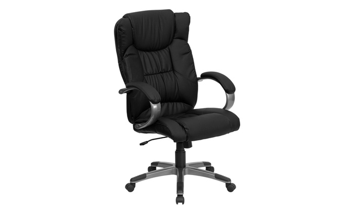 desk chair groupon leather couch and set high back executive swivel with arms