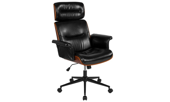 desk chair groupon cheap club chairs contemporary black leather high back walnut wood executive swivel office