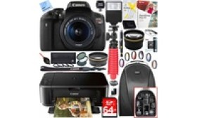 Canon EOS Rebel T6i DSLR Camera, Lens, and Printer Bundle