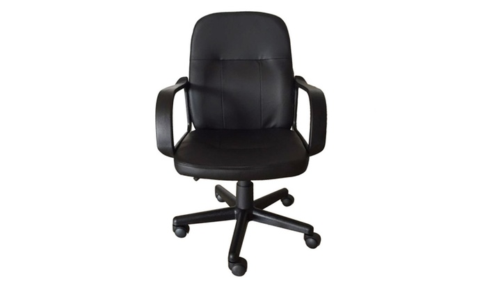 desk chair groupon used waiting room chairs universal wheel high strength pu leather office