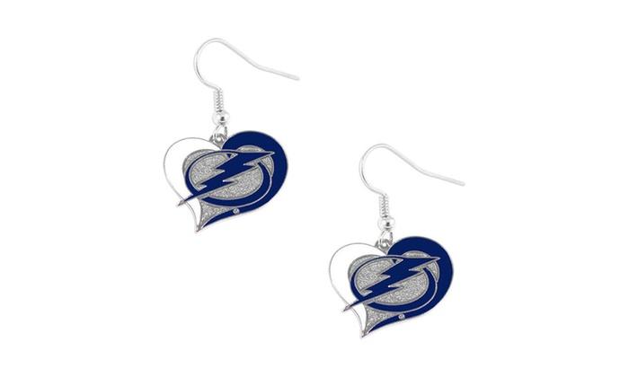 Tampa Bay Lightning Swirl Heart Earring NHL Dangle Logo