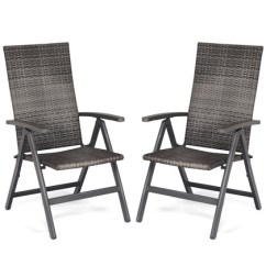 Portable Reclining Chair Bright Colored Accent Chairs Up To 19 Off On Costway 2 Pcs Rattan Folding Groupon Goods Outdoor Wicker Armrest Y 220 Aluminum