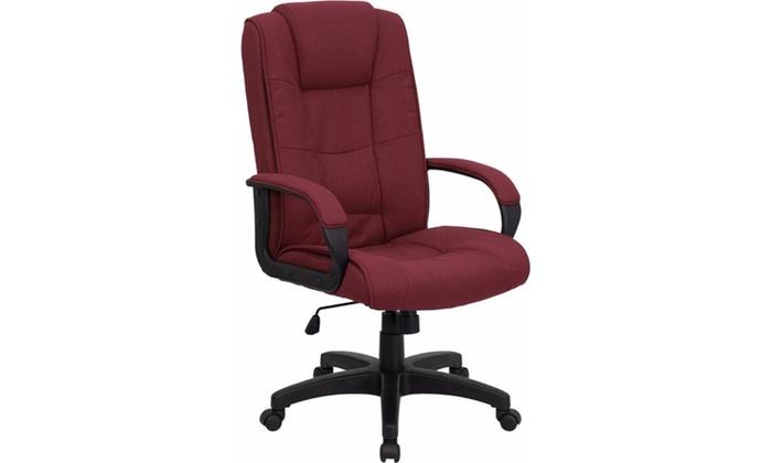 desk chair groupon wayfair club and ottoman flash furniture high back burgundy fabric executive office