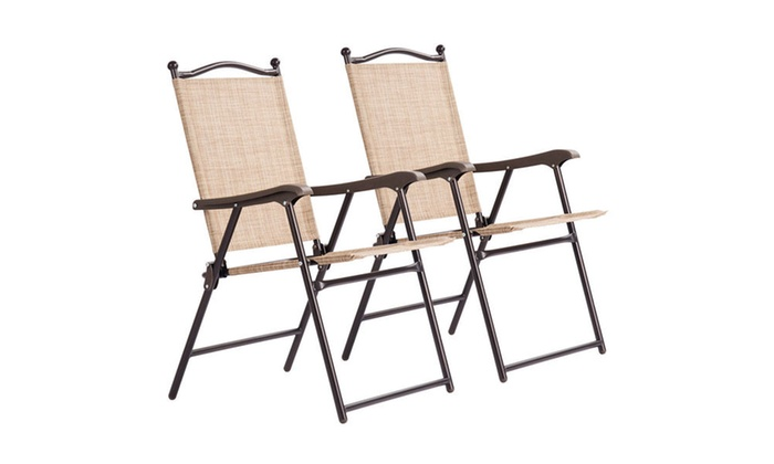 sling back patio chairs chair with armrest costway folding 2 pack groupon