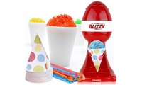 Courant Blizzy Snow Cone Maker CSM-2081    Makes a snow cone in seconds For Parties  Warm Weather Fun Counter Top Model    Stainless Steel Shaving Blades Large Push Button Works with Standard-sized Ice Cubes Removable Cone Holder Bonus includes 20 6oz. paper cones and straws110 VLTS .  Courant Blizzy Snow Cone Maker CSM-2081