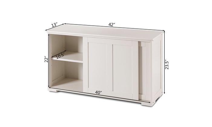 Kitchen Storage Cabinet Sideboard Buffet Cupboard Wood Sliding Door Pantry White Cabinets Cupboards Home Garden