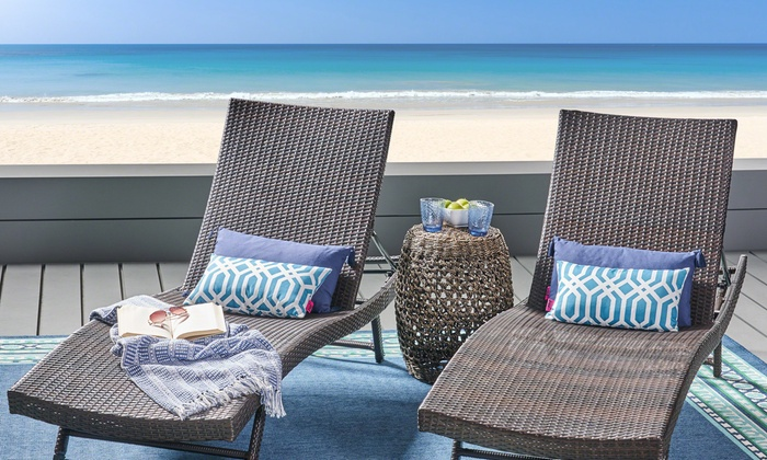 what are pool chairs made out of best floor chair up to 29 off on outdoor lounge set 2 pk groupon goods eliana pe wicker chaise pack