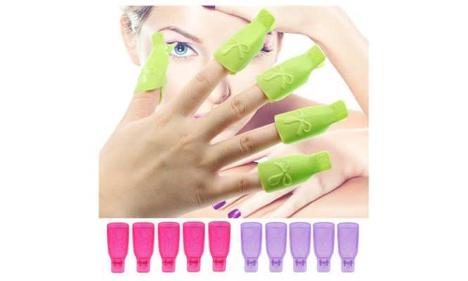 5pcs Set Nail Art Plastic Gel Polish Remover Soak Off Cap Clip Uv Wrap Tool Fluid For Removal Of Varnish Cleaner