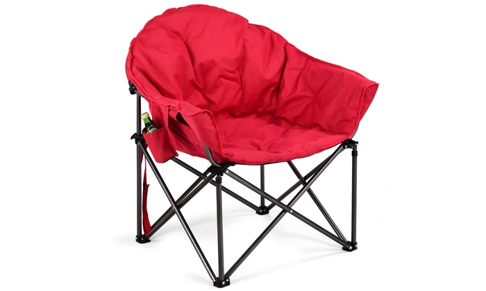 padded camping chair lazy boy office chairs leather oversized saucer moon folding seat w cup holder carry bag groupon