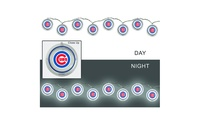 MLB String LightsIlluminate your tailgate, mantel, fence, or patio with these festive battery-powered string lights. The strand extends over 8 feet and features 12 acrylic icons that display your favorite sports team's logo. Safe for indoor or outdoor use, they are perfect for tabletop décor or as a mini garden or hurricane vase accent.They require 3 AA batteries to operate (not included). An on/off switch with a built-in timer makes illumination a breeze. These lights are sure to bring an extra sparkle to your life.Dimensions: 106