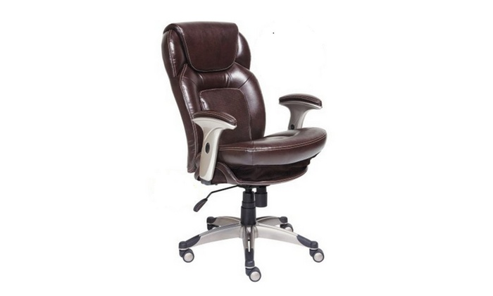 serta bonded leather executive chair sams folding chairs back in motion health mid office