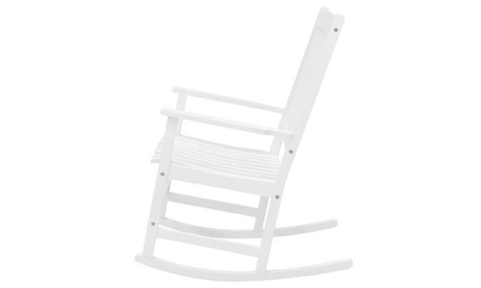 white wood rocking chair fishing footplate indoor outdoor patio glider groupon