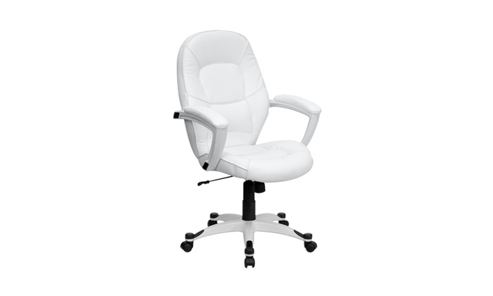 desk chair groupon lowes plastic adirondack chairs flash furniture mid back white leather executive office