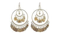 Gold Coin Large Gypsy Style Earrings | Groupon