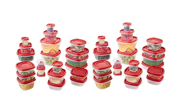 rubbermaid kitchen storage containers wood counters food container 42 piece set red groupon