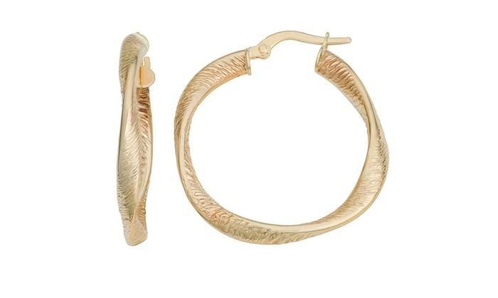 10 Karat Yellow Gold 3.35x25mm Twisted Hoop Earrings