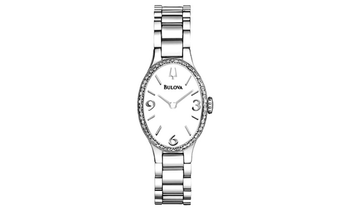 Bulova Women's Oval Stainless Steel Diamond Watch with