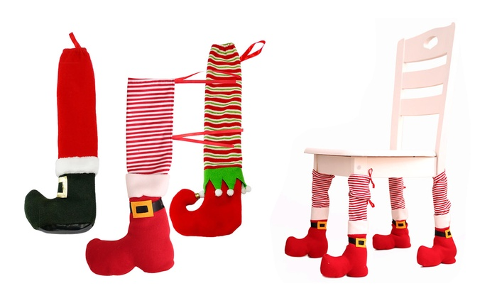 christmas elf chair covers how to build a rocking up 73 off on decoration sant groupon goods santa cover leg boots sleeve table decor