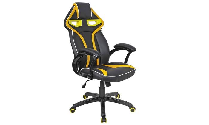 office chair high seat blue velvet target costway racing bucket back gaming groupon