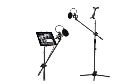 Microphone and Tablet Tripod Boom Stand Kit 2-in-1