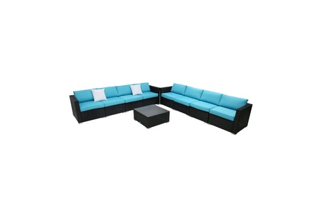 9PC Outdoor Furniture Sectional Set Patio Rattan Wicker Cushioned Sofa
