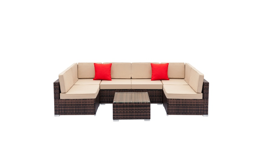 outdoor rattan sectional sofa patio wicker furniture set 7 pieces