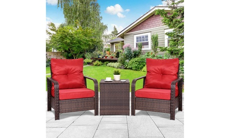 3PCS Rattan Wicker Patio Bistro Furniture Set Chairs Storage Table