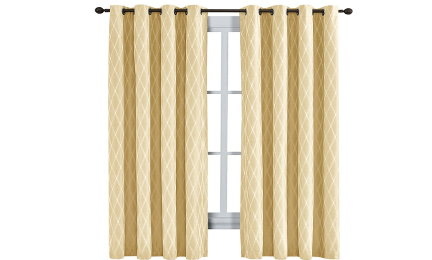 set of 2 light yellow victoria thermal blackout curtain panels