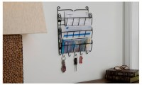 Evelots 3 Tier Wall Mount Letter Rack With Key Holders