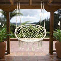 Hanging Chair Home Goods Computer Lounge Up To 53 Off On Sorbus Hammock Macrame Swing Groupon Perfect For Indoor Outdoor Use White N 265lb 100 Handmade Cotton