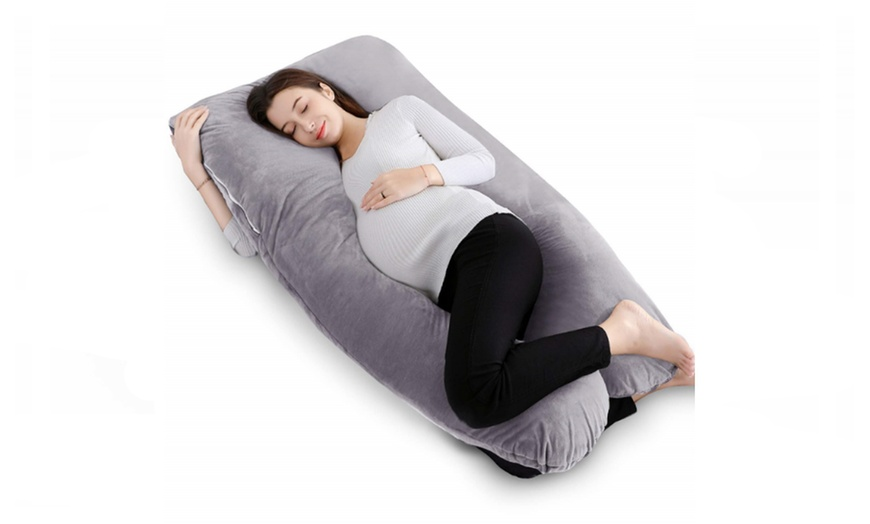 queen rose pregnancy pillow u shaped full body pillow with velvet cover gray