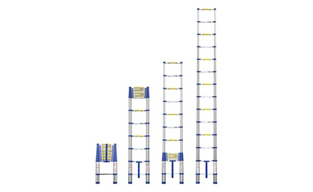 OLLIEROO Aluminum Telescopic Extension Ladder 13.5ft Blue