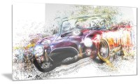 Colorful Abstract Convertible Car Metal Wall Art 28x12