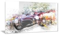 Colorful Abstract Convertible Car Metal Wall Art 28x12