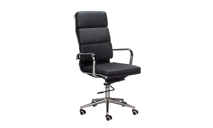 desk chair groupon painting dining room chairs padded high back office black vegan leather sold in 2s