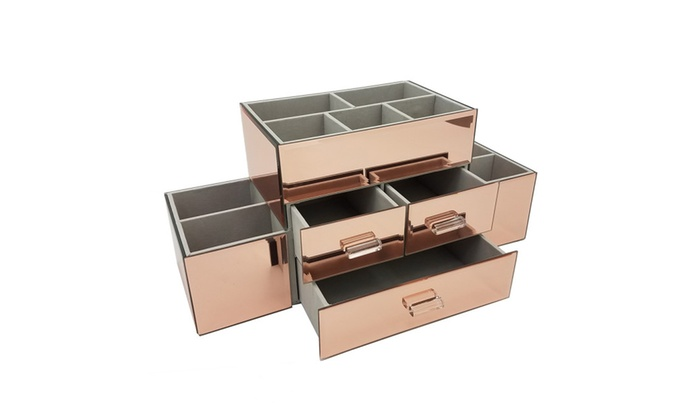 OnDisplay 3 Drawer Tiered Rose Gold Mirrored Makeup