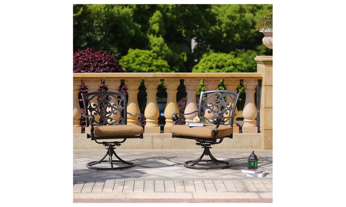 2 pc rocking chair cushions fishing earth products domi cast aluminum swivel rocker chairs with pcs set