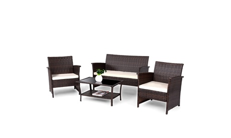 4 PCS Outdoor Patio Rattan Furniture Set Wicker Sofa Table